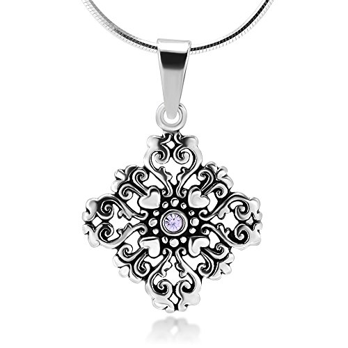 (Chuvora Sterling Silver Amethyst Crystal Filigree Heart Love Mandala Pendant Necklace 18'')