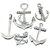 GraceAngie Brand 50pcs Mixed Vintage Silver Alloy Anchors Charms Pendants Jewelry