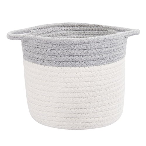 uxcell Cotton Rope Storage Baskets with Handles for Shelves and Desks Toy Storage(Gray,Cylindrical 1)