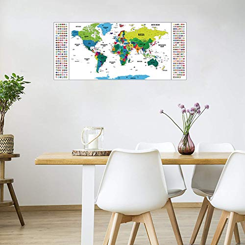 Scratch off World Map Deluxe Edition Detailed Travel Map with Capitals States Cities Scratch Map International Personalised World Map Posters World Scratch Map Poster Wall Art 94 x 40 cm White