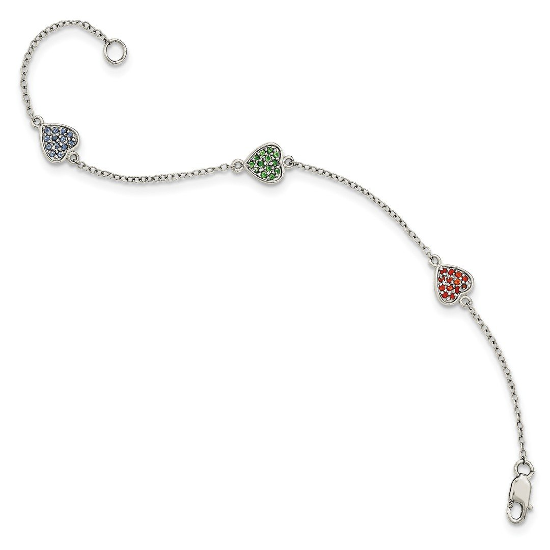 ICE CARATS 925 Sterling Silver Hearts Red/green/blue Glass Stone Bracelet 6 Inch/love Fine Jewelry Ideal Gifts For Women Gift Set From Heart