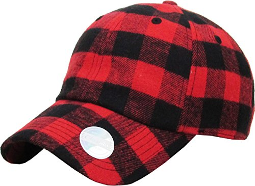 (KBE-Plaid RED-BLK 6 Panel Buffalo Plaid Dad Hat Baseball Classic Adjustable Soft Plain Cap)