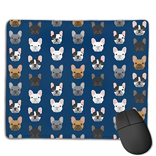 French Bulldog Navy Blue Gaming Mouse Pad Custom Comfortable Regular Compurter Mouse Mat -