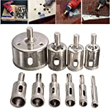 10pcs Diamond Coated Hole Saw Drill Bit Set Cutter 8-50mm For Tile Ceramic Marble Glass
