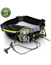 ISOPHO Running Belt for Women&Men, Belt Bag with Headphone Hole,Soft Fabric,Waterproof Zipper& Reflective Strip,Adjustable and Elastic Band,Belt for Running,Exercise,Cycling,fit for Phone, Key or Card