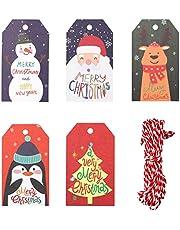 burkfeeg 50 st presentetiketter jul jul etiketter bomull för gör-det-själv dekoration jullov skidor dekoration julförpackning, med 10 m snöre