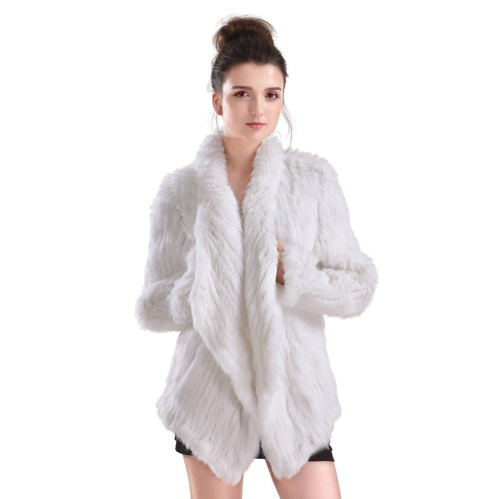 New Real Rabbit Fur Coats Womens Irregular Collar Jackets Christmas Gift