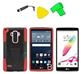 Heavy Duty Armor Hybrid w Kickstand Phone Cover Case Cell Phone Accessory + Extreme Band + Stylus Pen + LCD Screen Protector + Yellow Pry Tool For LG G Stylo LS770 / LG G4 Stylus H631 (T-Stand Black Red) -  ExtremeCases