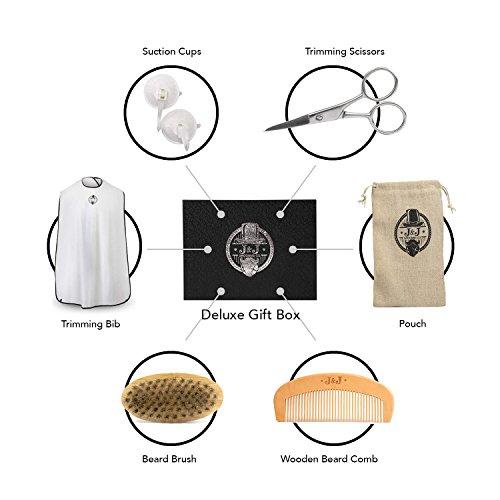 Set Trim Deluxe Drain (Beard Apron, Beard Grooming Kit – Beard Trimming Bib, Suction Cups, Beard Brush, Wooden Beard Comb and Beard Trimming Scissors – Deluxe Gift Box - Beard Gift Set)