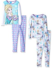 Disney Little Girls' Frozen Fair Isle Sisters Four-Piece Pajama Set