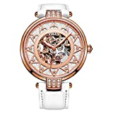 BUREI Women's Skeleton Automatic Watch with Rose Gold Dial and White Calfskin Leather Strap (Rose Gold)