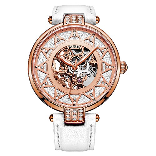 BUREI Women's Rose Gold Dial Skeleton Automatic Watch with White Calfskin ()