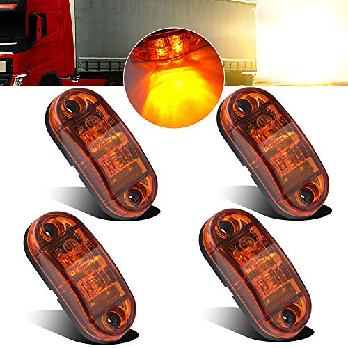 4pcs 12-24V Amber Side marker Lights Indicator of Position Lamp Front Rear Side Light 6000K Waterproof Universal for Car Trailer Truck Caravan Van Lorry Motorcycle: