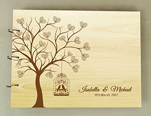 Wedding Guest Book Heart Tree Wood Engraved Name & Date Scrapbook And Lovebirds Photo Album - Heart Tree Decorations