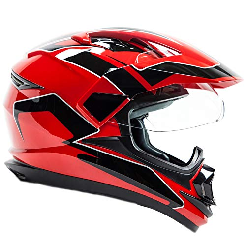 (Typhoon XP14 Full Face Dual Sport Helmet Off Road UTV ATV Motorcycle Enduro - Red - Medium)