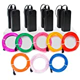 Zitrades EL Wire Neon Lights 15ft, Portable Neon Glowing Strobing Electroluminescent Wire with Battery Pack (15ft, Pack of 8, Blue/White/Red/Green/Pink/Purple/Yellow/Orange)