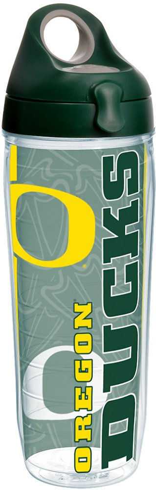 Tervis 1220456 Oregon Ducks College Pride Tumbler with Wrap and Hunter Green with Gray Lid 24oz Water Bottle, Clear