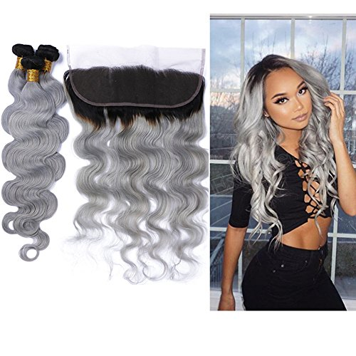 Tony Beauty Hair Dark Root Body Wave Hair Bundles With Lace Frontal Closure 13x4 Two Tone Ombre Hair Weft With Ear To Ear Full Lace Frontal (28 28 28+24 inch frontal)