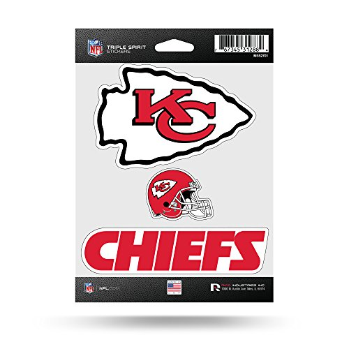 Rico Industries NFL Kansas City Chiefs Die Cut 3-Piece Triple Spirit Sticker Sheet ()