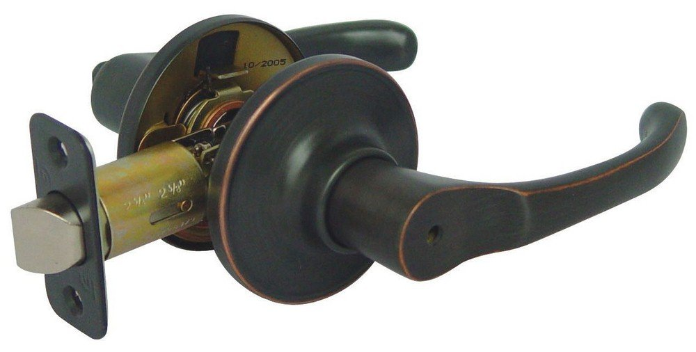 Hardware House 46-9825 Grade 3 4.13 Inch Privacy Lever Lock from the Greystone Collection, Classic Bronze Finish