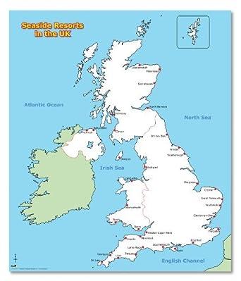 Seaside Uk Map Wildgoose Education WG3501 Seaside Resorts of the UK Poster, 67 cm  Seaside Uk Map