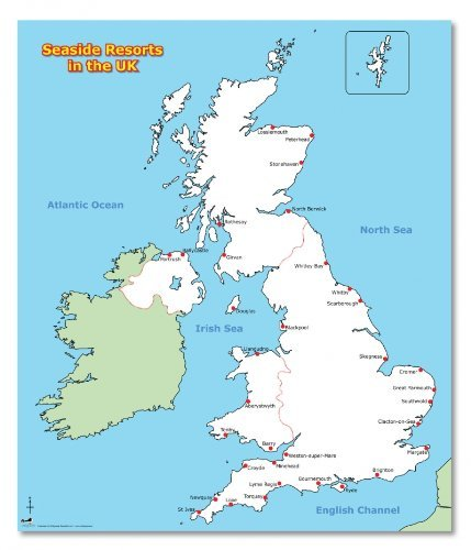Image result for map of the UK showing seaside resorts