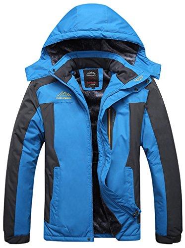 Sawadikaa Hombre Chaqueta de Esquí Alpinismo Al Aire Libre Impermeable Chaqueta de Nieve Lana Capa Excursionismo Ropa de Deporte Azul