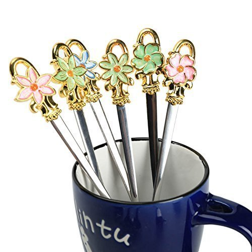 Stainless Steel Colour Enamels Flower Spoon Long Handle Mixing Scoop Ice Cream Honey Dessert Coffee Spoon Tableware(Purple) -