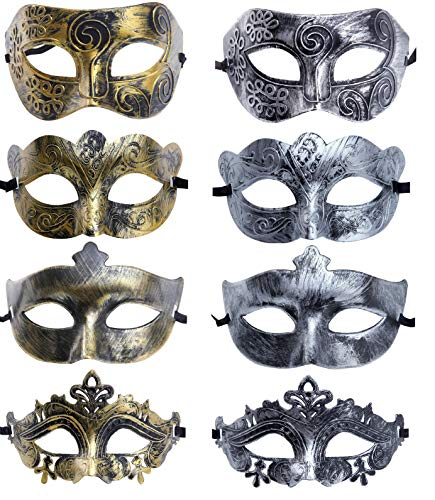 Unisex Retro Vintage Antique Mardi Gras Costume Party Acccessory Carnival Mask(pack of 8) -