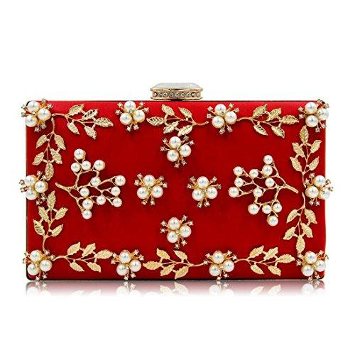 EPLAZA Women Floral Rhinestone Evening Clutch Bags Vintage Beaded Purse Party Wedding Handbag ()