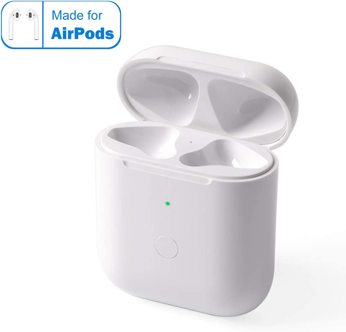 BLEAKTEIR Airpods Chargring Case Airpod Charger Compatible with Airpods 1/2 QI Wireless Charging Charger Case Replacement for Air Pods Charger Case with Bluetooth Sync Button(No Earbuds Included)