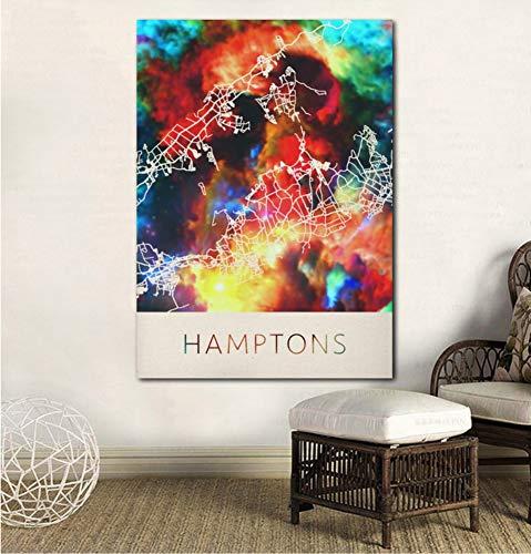 UDIYXC Hamptons Watercolor City Map Poster Canvas Print No ()