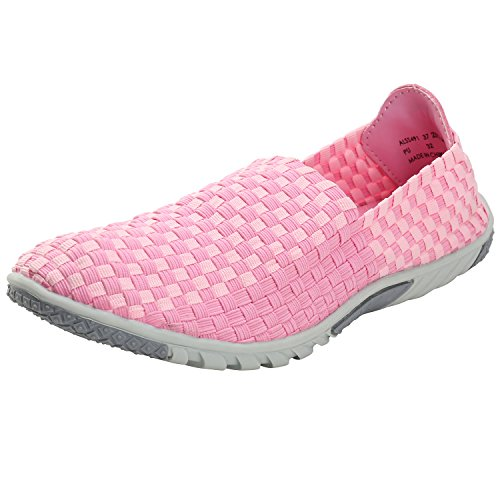 Alexis Leroy Women's Breathable Woven Elastic Checkered Pattern Casual Shoes Pink 37 M EU / 6-6.5 B(M) US