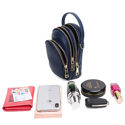 Purse Samsung Small Edge Cell Galaxy Real Navy 7 6 Women Zg S7 8 6S Layer Purse Crossbody Phone and 3 Fits for IPhone Crossbody Plus for S8 Leather UdxCqw0