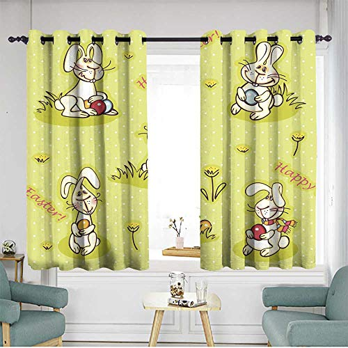 Sillgt Home Curtains Easter Wallpaper Blackout Draperies for Bedroom W 63