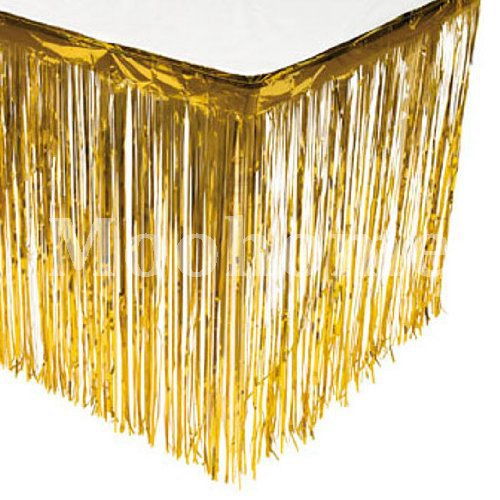 Moohome Foil Fringe Gold Table Skirt 9ft. x 29inch Tinsel Party Table Skirt 108