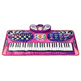 Dimple Piano Playmat for Kids; Touch Sensitive Musical Instrument Toy; 16 Instrument Sounds, 10 Rhythms, 61 Keys; Lightweight, Portable; Includes Microphone