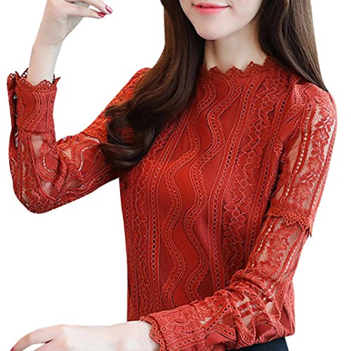 Pervobs Blouses, Big Womens Casual Solid Lace Striped Floral Long Sleeve O-Neck Slim Work Office Shirt Top Blouse