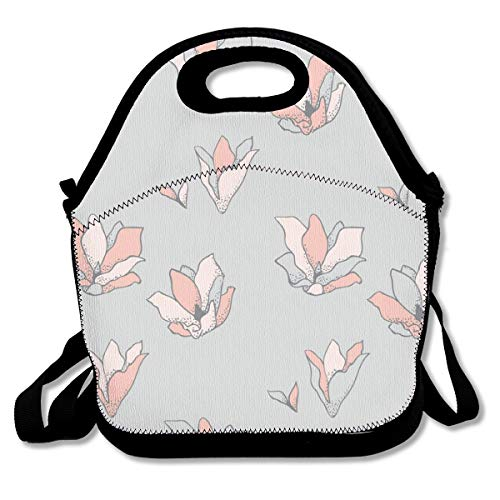 Pattonef Drawn Flowers Cherry Blossoms Customized Insulated Neoprene Lunch Bag Unisex Suitable for Office Workers