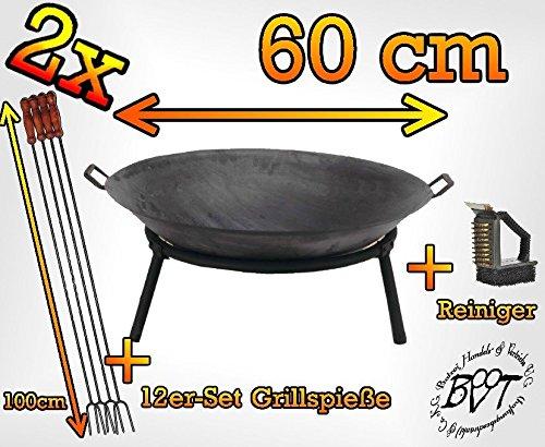 SET 2x Feuerschale, groß 60 cm mit Standring und 2 x Griffe für Grill und Spieß mit Grillzubehör: je 12x Grillspiesse und Reinigungsbürste