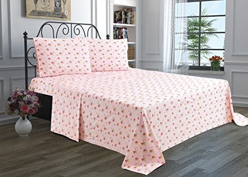 3 Piece Solid Bedsheet Set with 1 Pillow Case & 1 Deep Pocket Fitted & 1 Flat Sheet Wrinkle-Free Stain Resistant Extra Soft Breathable Hypoallergenic Brushed Microfiber Bedding Sheets - 1 Flowers Sheet