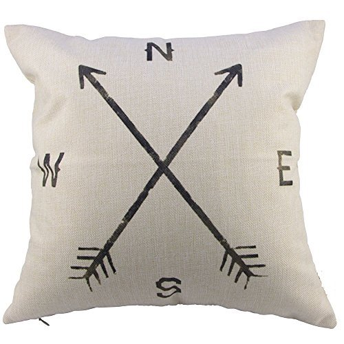 Leaveland Cotton Linen Square Decorative Throw Pillow Case Cushion Cover Compass (20