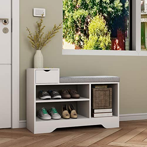 Hironpal Shoe Bench Storage Shoes Cabinet w Cushion Padded, Closet Organizer Perfect for Entryway Living Stool White