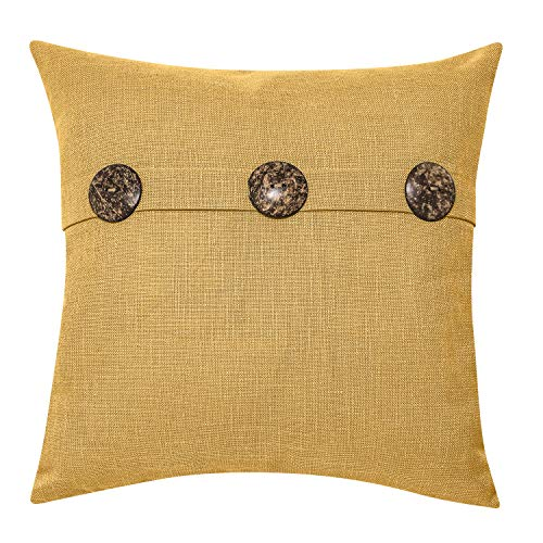 "Better Homes & Gardens Feather Filled Three Button Decorative Throw Pillow, 20"" x 20"", Mustard from Better Homes & Gardens"