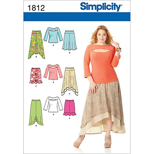Simplicity Pattern 1812 Misses Skirts and Knit Top Sizes (Simplicity A-line)