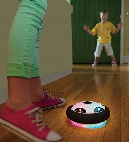 HearthSong Light-Up Air-Powered Hover Soccer Disc with Rubber Bumper Rim - Indoor or Outdoor Toy for Kids - Battery-Operated - Approx. 7