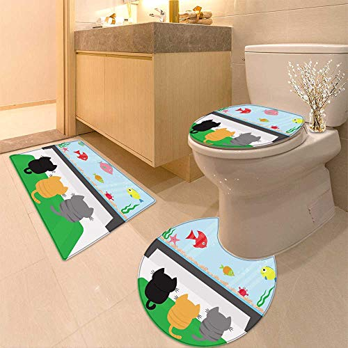 HuaWuhome 3 Piece Toilet Cover Set Three Kittens on Carpet Looking to Big Aquarium with Fish Pet Animal Collection Cute Coon Funny Pattern by HuaWuhome