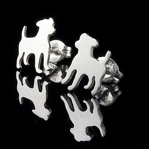 Handmade grey and white silhouette stud earrings