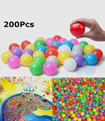 FINGOOO 2.16 Inch Phthalate Free Fun Crush Proof Balls Soft PE Air-Filled Ocean Ball Play Balls Pit Balls for Baby Kids Tunnel/Tent/Pool/Swim Jump House Pack of 200 by FINGOOO (Image #5)