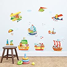 Decowall,DAT-1506AC,Animal Ships and Biplanes Wall Stickers peel & stick Nursery wall decals stickers